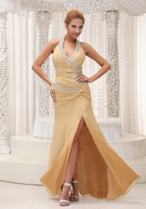 High Slit Beaded Decorate Halter Ruched Bodice Custom Made Champagne Prom Evening Dress