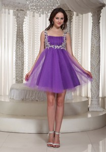 Appliques Decorate Straps Prom Cocktail Dress With Mini-length