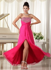 High Slit Strapless and Beaded Decorate Bust Hot Pink Prom Dress