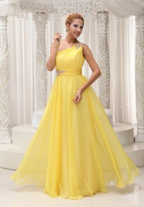 Beaded Decorate One Shoulder and Wasit Ruched Bodice Yellow Chiffon Custom Made Floor-length Prom /