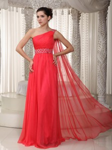 Coral Red Empire One Shoulder Watteau Train Chiffon Beading Prom Dress