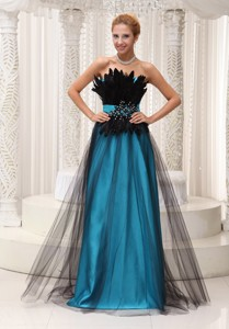 Feather And Beaded Decorate Bust Tulle And Taffeta Prom Pageant Dress Strapless And Floor