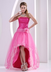 High-low Hot Pink Sequins Decorate Hand Made Flower Prom Celebrity Dress With Organza