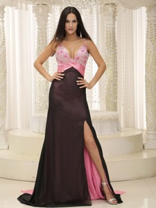 Straps Beaded Decorate Bust Ruch Chiffon And Elastin Woven Satin Evening Dress