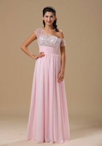 Saint Louis Baby Pink Chiffon Floor-length Prom Celebrity Dress