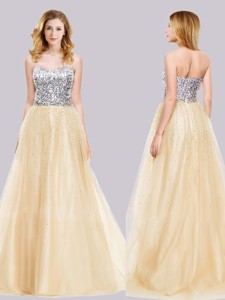 Best Selling A Line Tulle Champagne Prom Dress with Sequins