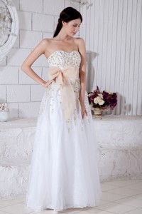 White Sweetheart Prom / Evening Dress with Gold Detail
