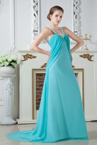 Turquoise Empire Straps Brush Train Chiffon Ruch and Beading Prom Dress