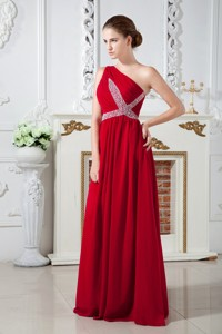 Red Empire One Shoulder Brush Train Chiffon Ruch and Beading Prom Dress