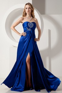 Royal Blue Column Strapless Prom Dress Elatic Wove Satin Beading Brush Train