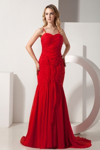 Red Mermaid Spaghetti Straps Brush Train Chiffon Ruch Prom Dress