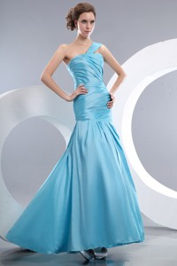 Cheap Aqua Blue Prom / Evening Dress Mermaid One Shoulder Ruch Floor-length Taffeta