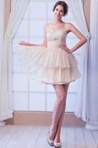 Champagne Sweetheart Prom Dress Beading Satin And Organza Mini-length