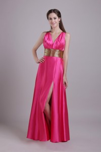 Hot Pink Empire V-neck Floor-length Taffeta Sash Prom / Evening Dress