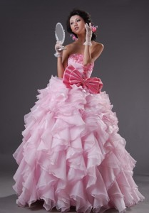 Brooklyn Center Beaded Decorate Strapless Bowknot Ruffles Floor-length Baby Pink Prom Evening