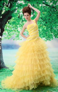 Ruffled Layers One Shoulder Prom Dress With Appliques And Beading Court Train For Custom Made