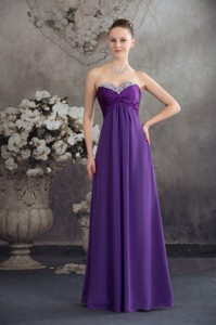 Beaded and Ruched Floor-length Purple Prom Celebrity Dress Strapless