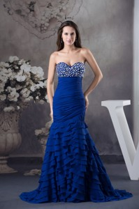 Beading and Ruffled Layers Accent Prom Formal Dress in Royal Blue