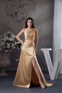 High Slit One Shoulder Sweep Train Prom Gown with Beading and Ruching