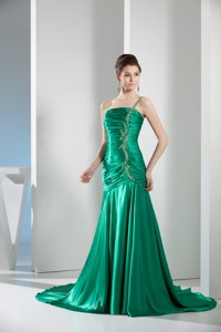 Green One Shoulder Column Ruching Prom Gowns For Party