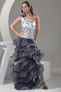 One Shoulder Prom Dress with Ruffle-layers and Handmade Flower