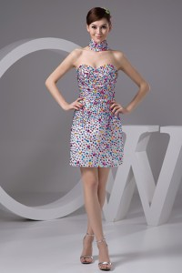 Strapless Mini Prom Dress With Colorful Rhinestone Over Skirt