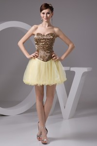 Beaded Mini Prom Dress In Leopard Print And Light Yellow