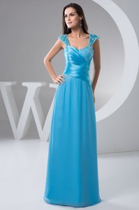Straps Blue Floor-length Prom formal Dress with Ruches and Beading