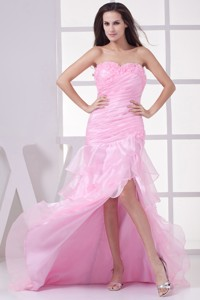 Pink High Slit Sweetheart Ruching and Ruffles Layers Prom Dress