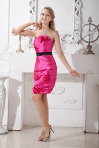 Hot Pink Column Strapless Cocktail Dress Taffeta Hand Made Flowers Mini-length