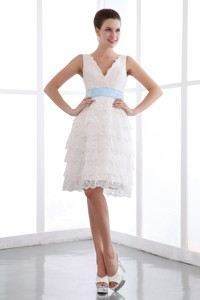 White V-neck Mini-length Lace Sash Homecoming Dress