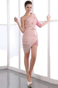 Baby Pink Column One Shoulder Short Homecoming Dress Chiffon And Sequin Bow Mini-length