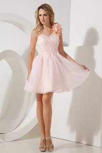 Baby Pink Pricess One Shoulder Cocktail Dress Hand Made Flowers Mini-length Organza