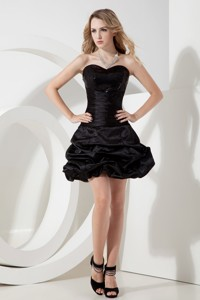 Black Princess Sweetheart Sequins Little Black Dress Mini-length Taffeta