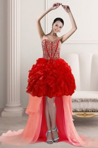 Beautiful High Low Homecoming Dress With Beading And Ruffles
