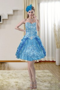 Popular Sweetheart Blue Homecoming Dress With Embroidery
