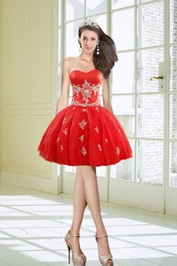Hot Sale Ball Gown Sweetheart Appliques Red Homecoming Dress