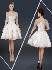 New Arrivals Off The Shoulder Appliques Champagne Short Homecoming Dress