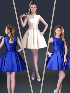 Beautiful Short Bateau Homecoming Dress With Bowknot And Beading