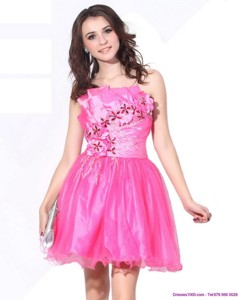 One Shoulder Hot Pink Short Graduation Dress With Ruching And Beading