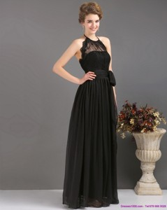 Gorgeous Halter Top Sash Graduation Dress In Black