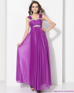 Romantic Empire Floor Length Graduation Dress With Ruching And Beading