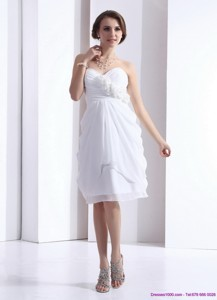 Perfect Sweetheart White Graduation Dress With Hand Made Flowers And Ruching