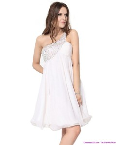 Free And Easy One Shoulder Beading Graduation Dress In White