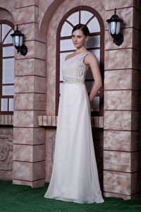 Popular White Graduation Dress Empire One Shoulder Beading Chiffon Floor-length