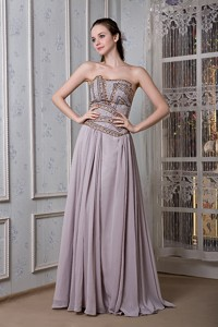Exclusive Grey Empire Graduation Dress Strapless Chiffon Beading Floor-length