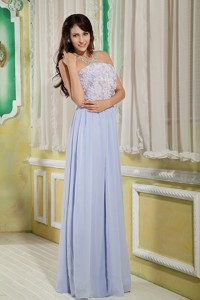 Lilac Empire Strapless Floor-length Chiffon Roling Flower Graduation Dress