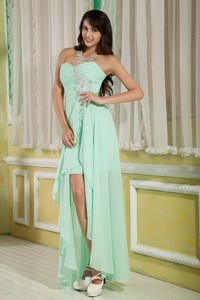 Lovely Apple Green Empire Sweetheart Graduation Dress High-low Chiffon Beading