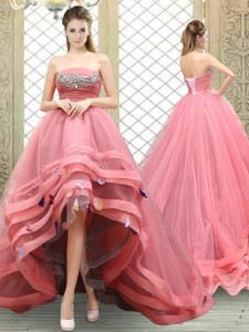 Popular Strapless High Low Beading Graduation Dress