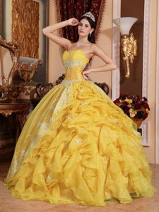 Yellow Ball Gown Sweetheart Floor-length Organza Beading Quinceanera Dress